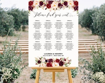 Burgundy Floral Wedding Seating Chart Template, Printable Seating Plan, up to 30 table, 24x36 18x24 Large Poster, PDF Instant Download #101