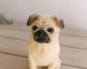 Custom Pug portrait, Custom dog portrait, Needle felt pug, Needle felt dog, Custom felt Pug, Pug gift for her,Dog portrait,Pet sculpture