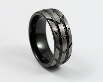 Black Tungsten Wedding Band, Brushed Silver,Tire Tread Design, Comfort Fit, 8MM Men's Ring, Free Custom Engraving, Sizes 7-13
