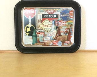 "Coca Cola Advertisement Metal Tray / Vintage ""Through All the Years Since 1886""  Advertising Coca Cola Products /CocaCola Company Brand Tray"