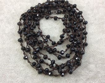 """72"""" Woven Dark Brown Thread Necklace with 6mm Faceted Glossy Finish Rondelle Shaped Opaque Jet Black Chinese Crystal Beads - (DB72CC-02)"""