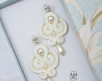 Wedding Earrings Bridal Earrings Pearl Earrings Cream Drop Earrings For Bride Champagne Soutache Earrings
