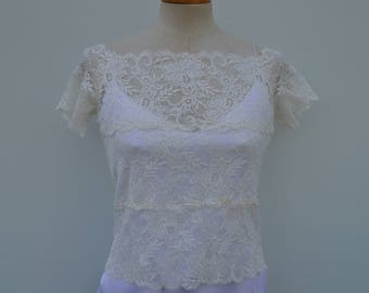 Burp lace ecru top, top, bride, lace top