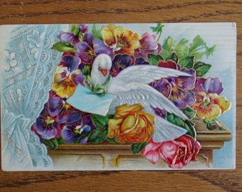 Antique Early 1900s Post Card Greeting, Dove with Pansys & Roses, Beautiful Embossed Postcard, Collectible Ephemera, Looks Great Framed ~