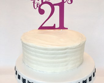 21st Birthday Cake Topper - Cheers to 21 - Birthday Cake Topper - Personalized - Custom - Party - Anniversary - Celebration