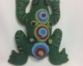 Wool Felt Handcrafted Frog Figure
