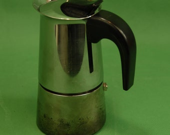 Vtg INOX Espresso Maker 4 cup Stovetop 18/10 Stainless Made in Italy Flame Marks