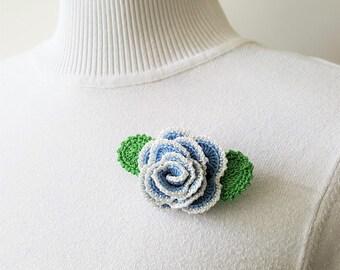 Blue crochet brooch Big rose brooch Crochet rose brooch Crochet rose Crochet rose pin Rose flower brooch Big corsage pin Pin crochet flower