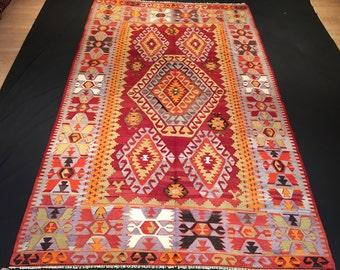 5'7'' x 9'7'' (170 cm x 290 cm), Turkish Decorative Kilim, Chall Western Turkey Kilim Rug, Denizli Kilim, Vintage Turkish Kilim