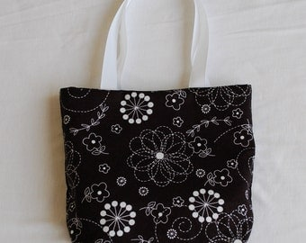 Fabric Gift Bag/ Small Tote/ Hostess Gift Bag- Floral Doodles on Black