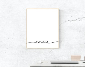 Amour Print, Love Art, Love Print, Digital Download, Amour Wall Art, Wall Prints, Printable Art, Most Popular Prints