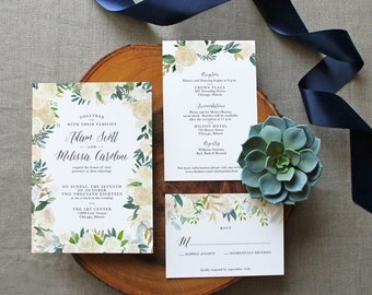 Custom Printable Floral Wedding Invitation Set - PDF