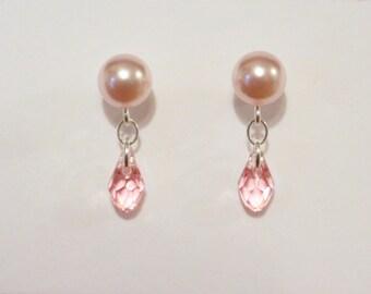 Pearl Earrings, Swarovski Pearl Earrings, Sterling Silver Earrings, Silver Dangle Earrings, Swarovski Crystal Earrings, Pearl Stud Earrings