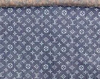 Dark Blue Designer Inspired LV Print Denim Fabric