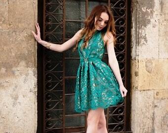 Lace Dress / Green Dress / Dress /Womens Dresses / Elegant Dress / Lace Womens Dress / Short  Dress / Prom Dress
