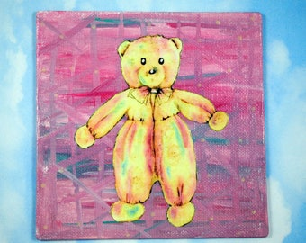 Teddy Bear Painting- Canvas Art, Glow in the Dark, Mixed Media, Original Art, Wall Decor, Girl Gift, Small Painting, 1967, FREE SHIPPING