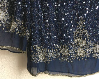 Vintage Sheer Navy Blue Beaded Sequin Blouse Top Med/Lrg Galaxy Universe Long Sleeve Party