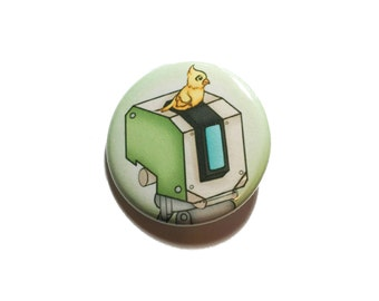 "Overwatch Bastion button, 1.25"" button, 1.25"" badge, pinback button, pin, geek gift"
