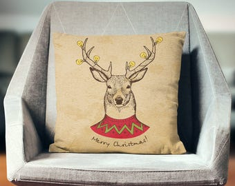 Christmas Cushion | Modern Christmas Decoration | Reindeer Decor | Vintage Christmas Pillow | Vintage Christmas Decor | Hipster Christmas