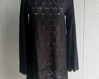 Black dress, tunic, women's bell sleeve lace dress, black long sleeve mini dress, boho fashion, bohemian dress, gothic bohemian dress