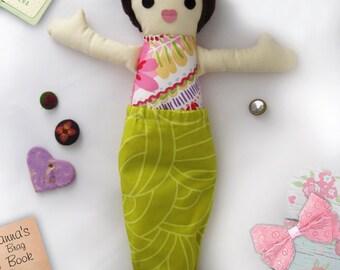Rag Doll Mermaid, Dress up Cloth Doll, Removable Tail, Soft Brown Hair Girl, Handmade kids gift, Cucoli toys / Poupee de chiffon, Sirene