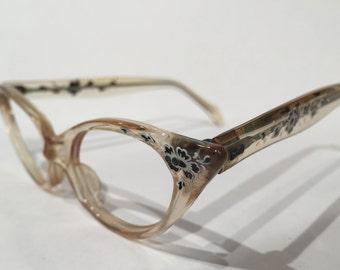 Clear Lucite Pointy Cat Eye Glasses Frames, NOS, Vintage Cateye Glasses Frames, 1950s Cat Eyes Lucite Eyeglasses, Rockabilly Retro Eyewear