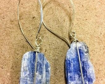 Raw Kyanite Wire Wrapped Earrings