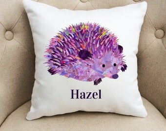 Hedgehog nursery cushion, Personalised hedgehog pillow, Hedgehog children decor, Hedgehog nursery, Animal wildlife lover cushion, Art pillow