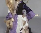 Pullip long coat in purple, cream and brown