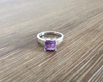 Amethyst Ring; Size 7 Platinum Plated .925 Sterling Silver Amethyst and Diamond Ring; Purple Ring; Sterling Silver Ring; Size 7 Ring