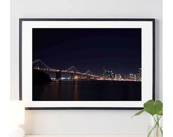 San Francisco Bay Bridge Photo Print #2 | bridge photo | cityscape picture | city skyline photo | california | wall art | 11 sizes