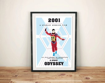 Alternative a space odissey movie poster inspired. Stanley Kubrick sci fi space cult film wall art home decor geek poster