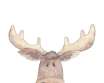 Watercolor Moose Portrait