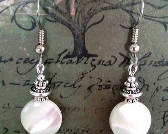 White mother of pearl disc earrings
