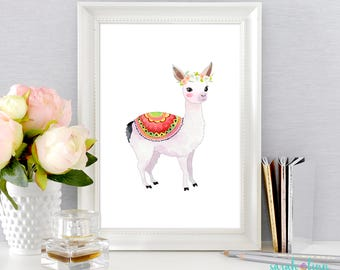 Llama Print, Llama Christmas Gift, Llama Baby Shower, Llama Art, Alpaca, Printable, Alpaca Wall Decor, Nursery Wall Art, Instant Download