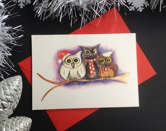 Set of 6 Owls Christmas cards. Hand made greeting cards. Christmas cards. Illustrated Christmas cards. Owls cards. Hand drawn illustration.