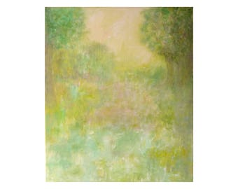 impressionist painting French landscape Meadow green Tree figurative vertical Artwork Wall art decor Original gift for women girl bedroom