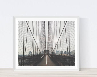 Brooklyn Bridge Ditial Print, New York City, Brooklyn, Brooklyn Bridge Wall Decor, Travel Photo, East River, Print, Wall Art,  #A13