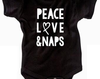 Peace Infant Bodysuit - Newborn - Peace Love Naps - New Baby Gift - Baby Bodysuit - Baby Shower Gift