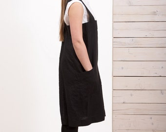 Linen Pinafore Apron - Womens linen apron - Black apron - Long apron - Square cross linen apron - Japanese style apron - Hand made apron