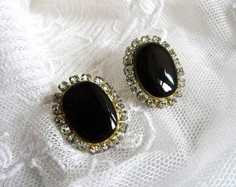 Vintage Diamante Earrings, Crystal and Black Enamel, Pierced Ears, Bling, 80s