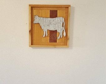 Tin Cow Wood Wall Hanging