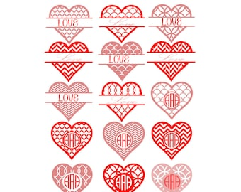 Heart svg Valentines Monogram SVG, studio3, Eps, Dxf Cut files for Cricut DS, Silhouette, Vinyl Cutters and Screen Printing Instant download