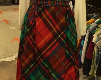 Vintage 1970s Plaid Jumper-Style Dress