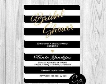 Chic invitations,  bridal shower invitations, baby shower invitations, invites, invitations, striped invitations, printable, download