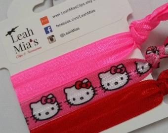 Hello Kitty Hair Ties Set of 3, Hello Kitty hair ties, Hello Kitty Birthday Party, Hello Kitty Party Favors, Red and Pink Kitty Elastics