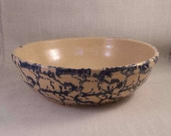 Roseville RRP Blue Spongeware Bowl.