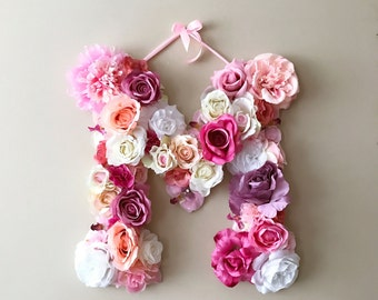 "Floral Letter, 14'', 18"", 24'' Flower Letters, Nursery decor, Wall letters, Personalized nursery, Nursery wall art, Baby shower, Photo prop"