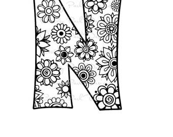 Letter N Alphabet Flowers SVG / JPEG / PNG /pdf / use with Silhouette Studio and Cricut Design Space - Commercial Use - Adult Coloring Page