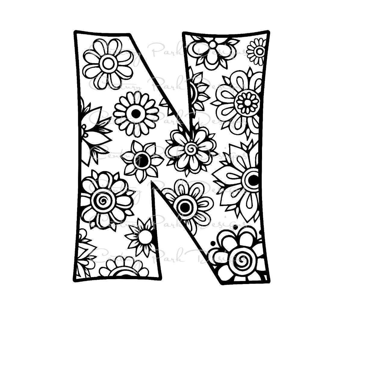 letter n alphabet flowers svg jpeg png pdf use with. Black Bedroom Furniture Sets. Home Design Ideas